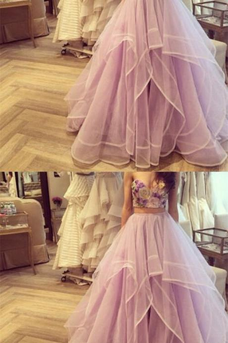 Sexy Lavender Prom Dress, Two Piece Organza Long Party Dress, Sweetheart A Line Evening Dress 51575