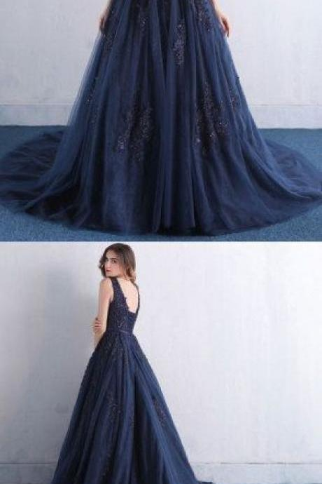 Sexy Navy Blue Prom Dress, Tulle Party Dress, A Line Long Evening Dress 51580