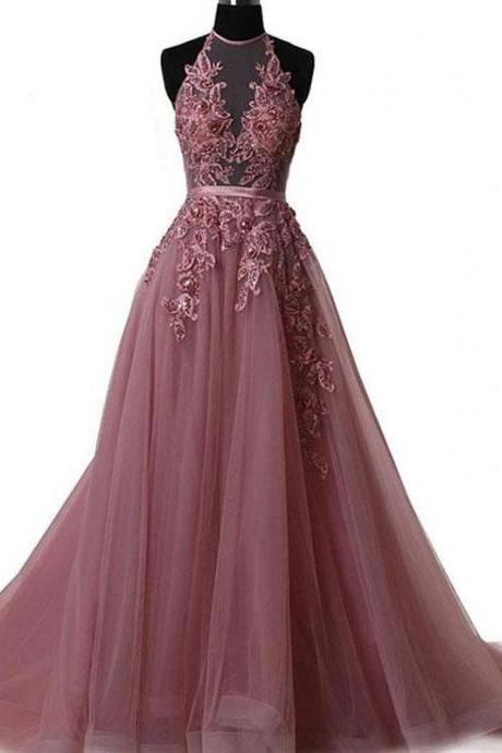 Charming hater party dress, tulle long prom dress, backless prom dress 51622