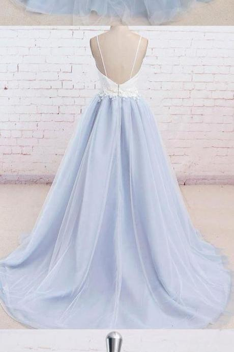 Spaghetti Straps Sweep Train Backless Light Blue Tulle Prom Dress 51634