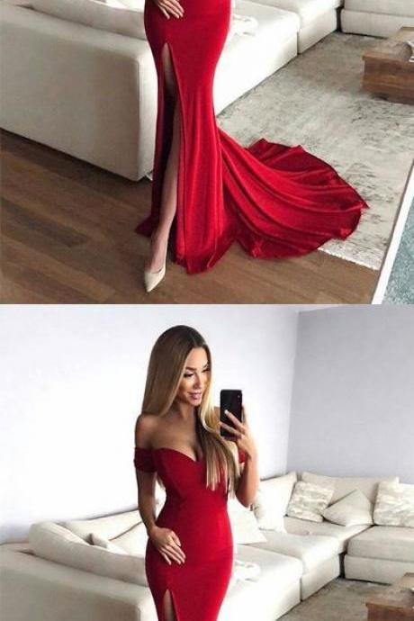 Sexy Mermaid Off-Shoulder Red Long Prom Evening Dress with Split Front 51646