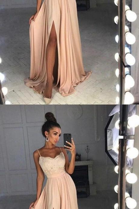 simple blush prom party dress, elegant lace evening gowns, modest split formal gowns 51664