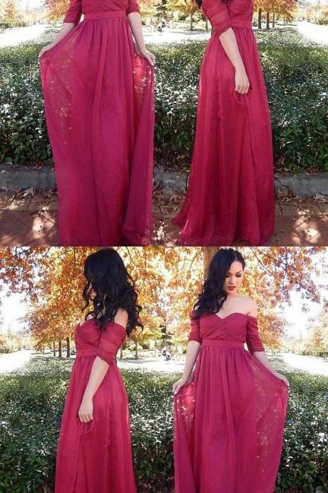Simple Ruffles Long Half-sleeves Off Shoulder Chiffon Evening Dress 51692