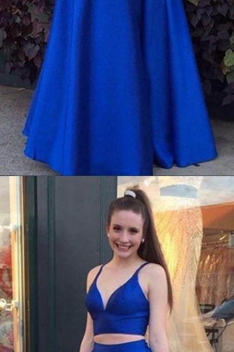 New Arrival Two Piece A-Line Prom Dress, Long Royal Blue Prom Dress, V Neck Evening Dress 51708