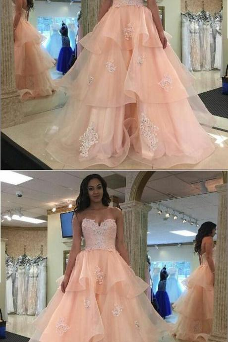 Pretty Pink Lace Prom Dress, Sweetheart Quinceanera Dress, Long Party Dress 51779