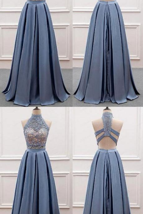 Sexy Two Piece Blue Long Prom Dress with Lace 51816