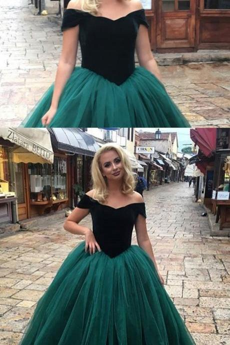dark green prom dress, tulle ball gowns, velvet evening gowns, off shoulder prom dress 51851