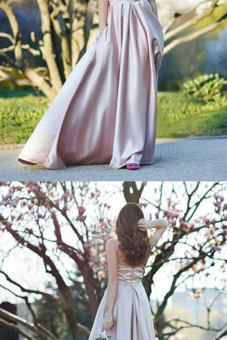 Fashion A Line Halter Champagne Satin Long Prom Evening Dress 51894