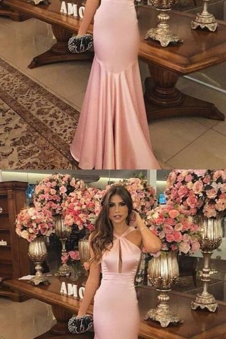 Mermaid Cross Neck Sweep Train Pink Satin Prom Dress 51987