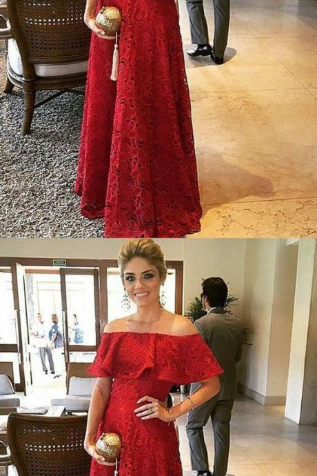elegant dark red off shoulder prom party dress with ruffles, formal lace party dress 51989