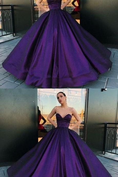 modest purple ball gown prom dress, unique a line round neck party dress 52015