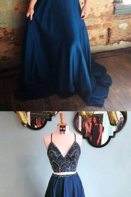 two piece long prom dress, spaghetti straps two piece beaded bodice navy blue long prom dress 52016