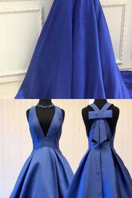 Elegant V Neck Evening Dress, Royal Blue Long Prom Dress, Formal Gown 52022