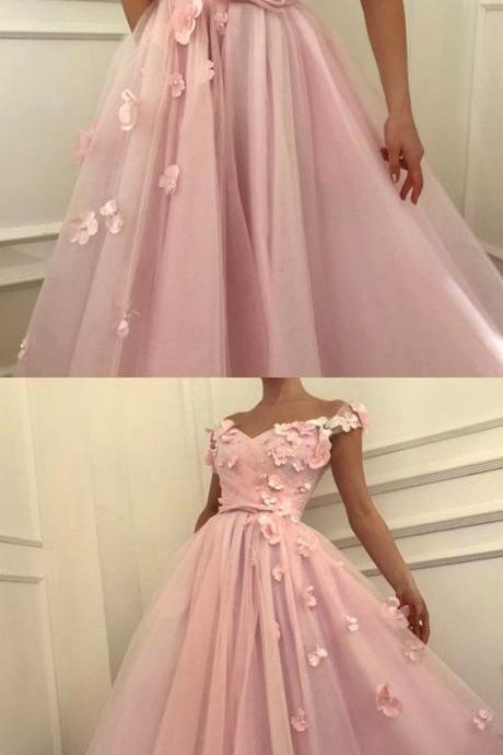 Pretty pink tulle long prom dress, v-neck off the shoulder evening gowns with flowers beaded 52033