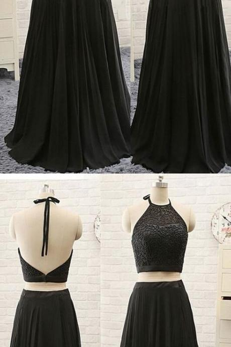Charming Black Prom Dress, Two Pieces Prom Dress, Halter Prom Dress 52045