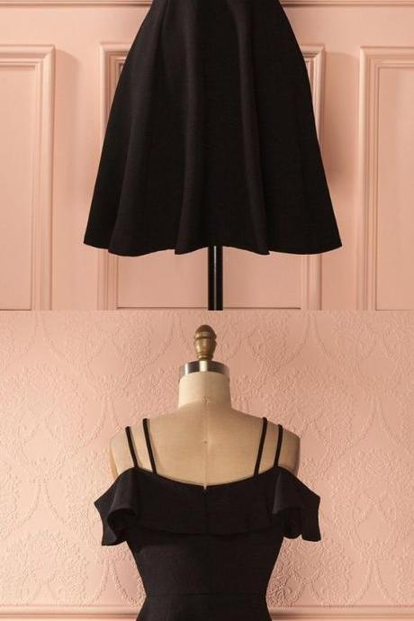 black homecoming dress, simple short party dress, cute fashion gowns 52080