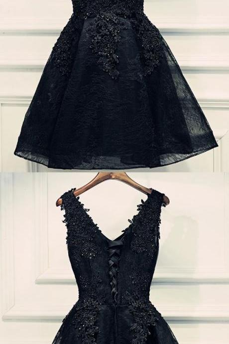 Short black lace prom dress, V Neck prom dress for teens 52084
