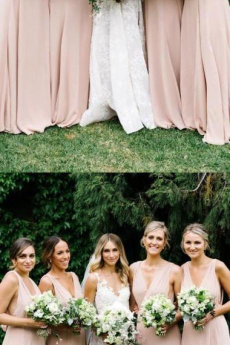 Pink V-neck A-line Chiffon Elegant Bridesmaid Dress For Wedding 52102