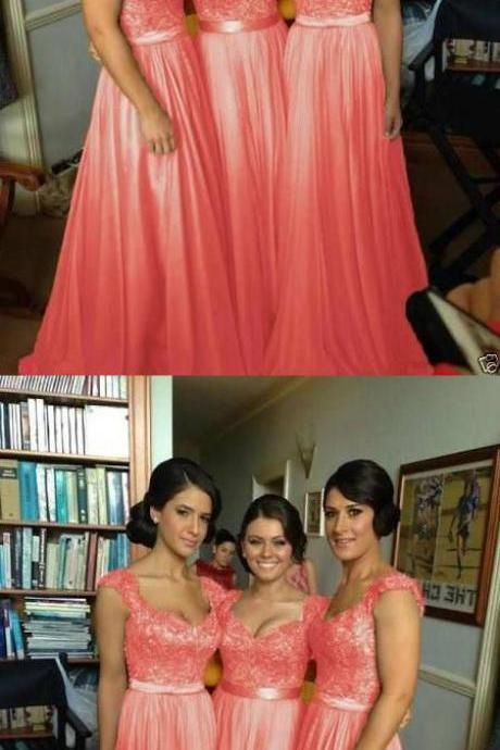 Elegant Coral Satin Long Bridesmaid Dress for Wedding 52115