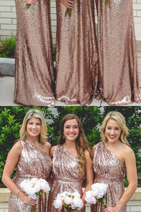 One Shoulder Bridesmaid Dress, Champagne Bridesmaid Dress, Sequins Bridesmaid Dress for Wedding 52152