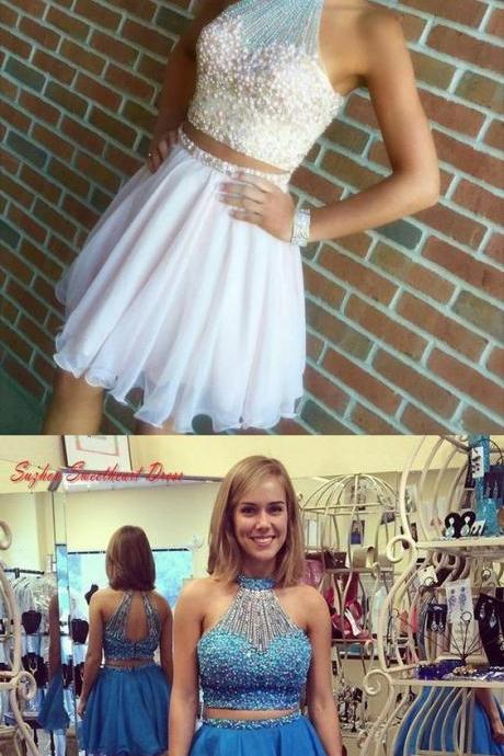 High neck homecoming dress, two piece short prom dress, beading simple party dress 291