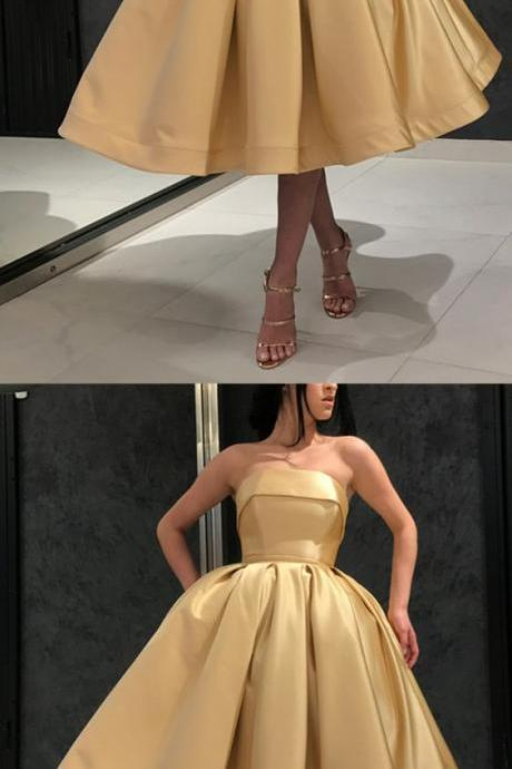 Short Gold Prom Dress, Strapless Homecoming Dress, Fashion Evening Dress, Knee Length Dress 307