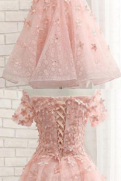 Simple Off Shoulder Homecoming Dress, Short Pink Applique Prom Gowns 344