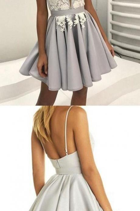 V neck prom dress, short grey backless homecoming dress for cocktail party 353