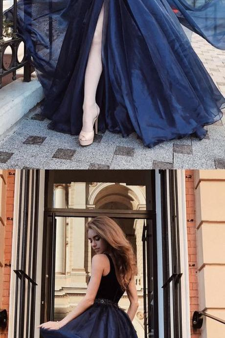 navy blue long prom dress with side slit, elegant formal tulle evening party dress 52172