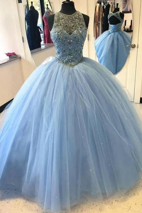Fashion Blue Round Neck A-Line Tulle Long Prom Evening Dress 52177