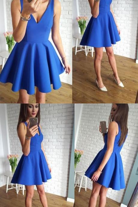 Royal Blue Homecoming Dress, V Neck Homecoming Dress, Simple Homecoming Dress 380
