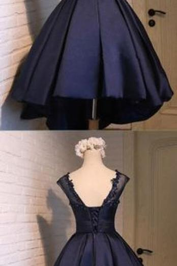 Navy Blue Homecoming Dress, Round Neck Homecoming Dress, Simple Satin Homecoming Dress 403