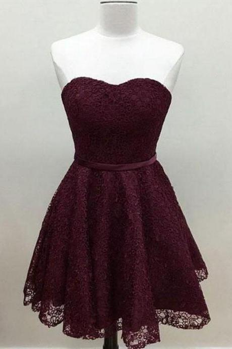 Sweetheart Cute Simple Maroon Short Lace Homecoming Dress 428