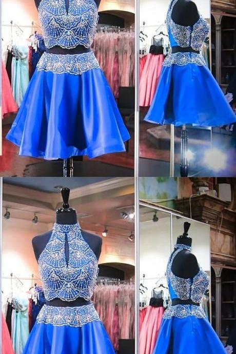 Two Piece High Neck Keyhole Short Royal Blue Satin Beaded Homecoming Dress 458