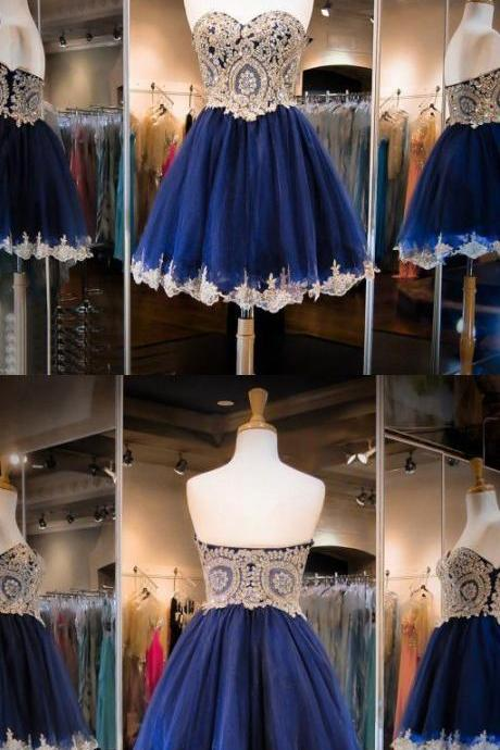 Navy Blue Prom Dress, Knee Length Prom Dress, A Line Prom Dress, Sweetheart Cocktail Dress, Prom Dress with Appliques 459