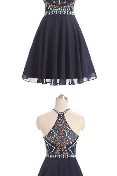 Navy Blue Round Neck Homecoming Dress, Beading Short Prom Dress 460