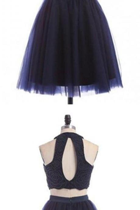 A-line Homecoming Dress, Round Neck Homecoming Dress, Beading Two Piece Homecoming Dress, Navy Blue Short Homecoming Dress 461