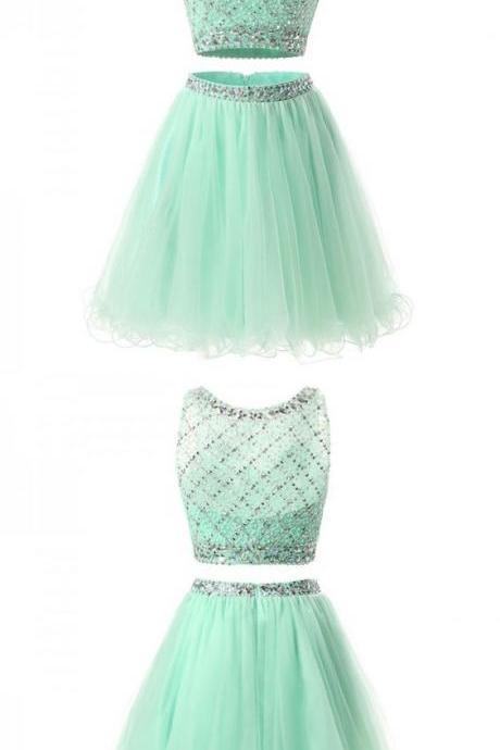 two piece mint short homecoming dress, simple beaded homecoming dress 463