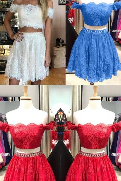 Two Piece Prom Dress, Knee Length Prom Dress, A Line Prom Dress, Off Shoulder Cocktail Dress, Lace Prom Dress 464