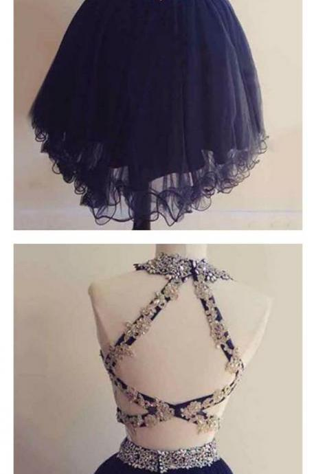 Two piece navy blue homecoming dress, round neck party dress, knee length homecoming dress, tulle formal dress 540
