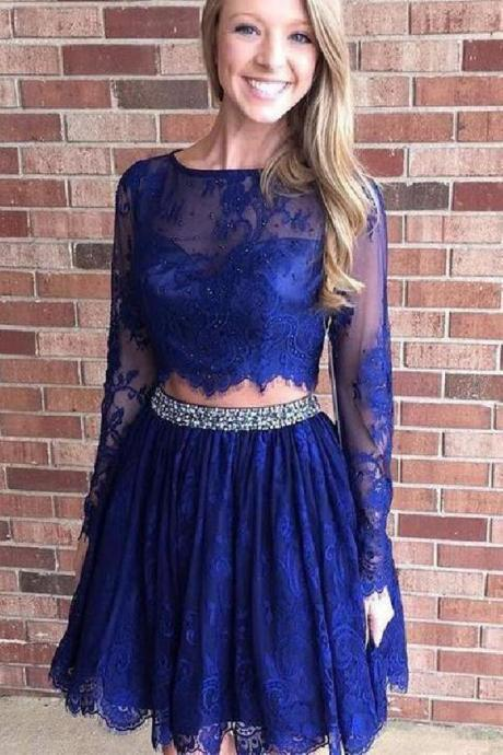 Charming Dark Blue Prom Dress, Lace Homecoming Dress, Two Piece Graduation Dress, Long Sleeves Short Prom Dress 568