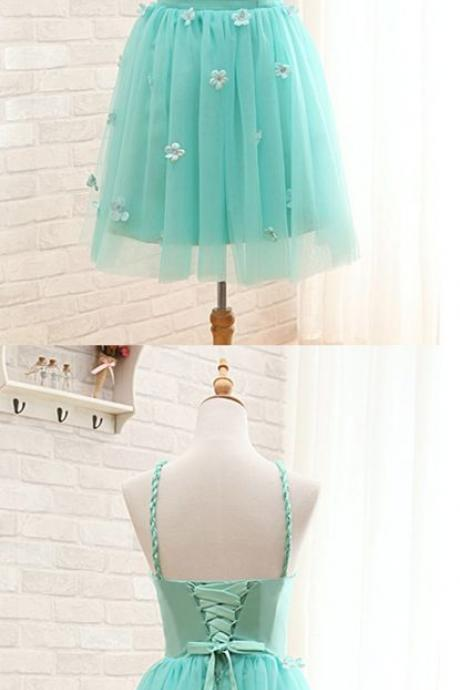Short Homecoming Dress, Mint Green Prom Gowns, Halter Backless Party Dress, Popular Tulle Cocktail Dress 604
