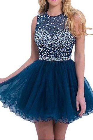A-Line Navy Blue Round Neck Short Tulle Formal Homecoming Dress 607