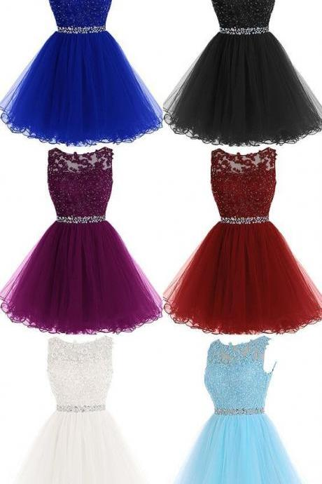 A-Line Lace Rhinestone Short Cocktail Party Dress 690
