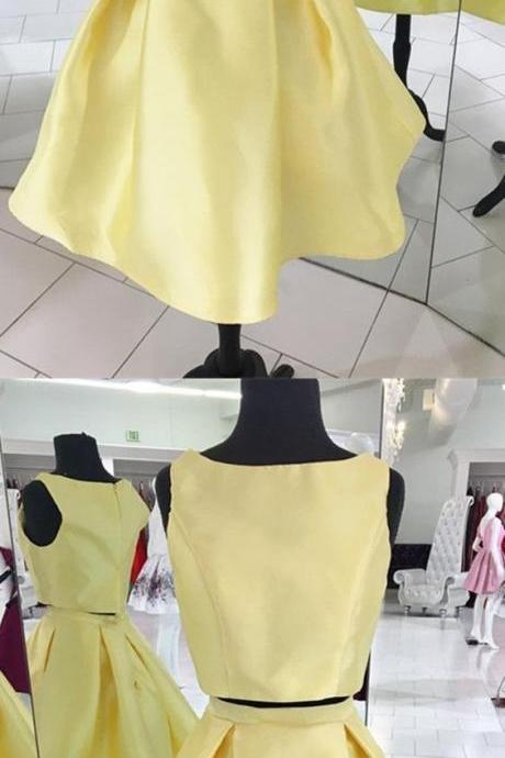 Simple Yellow Two Piece Homecoming Dress, Short Scoop Neck Satin Party Dress 708