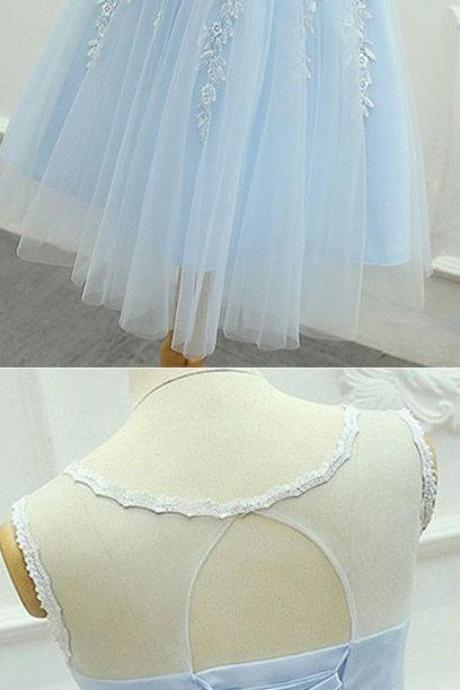 Cute tulle lace applique short prom dress, round neck light blue homecoming dress 709