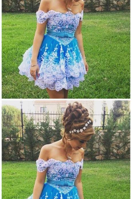 Off Shoulder Prom Dress, Appliques Short Prom Gown, Little Homecoming Dress 767