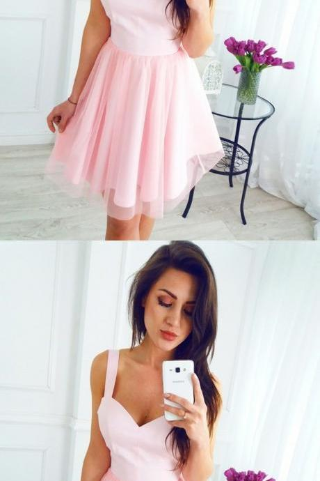 A-Line Scoop Short Pink/Red Tulle Homecoming Dress 821