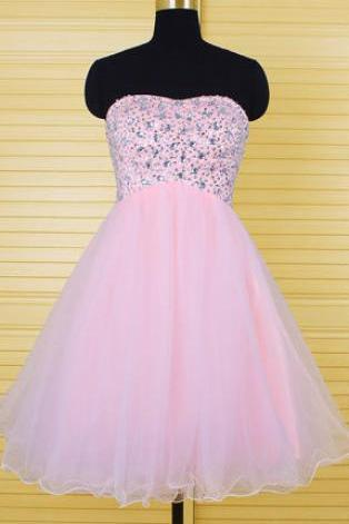 Pink Homecoming Dress, Tulle Homecoming Dress, Sweetheart Homecoming Dress 829