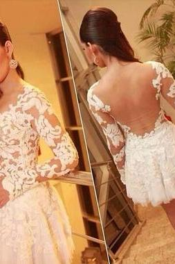 Lace Homecoming Dress, White Homecoming Dress, Short Prom Dress 836
